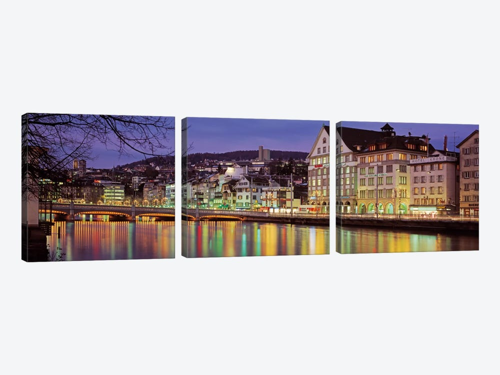 Riverfront Architecture, Zurich, Switzerland 3-piece Canvas Artwork