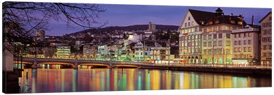 Riverfront Architecture, Zurich, Switzerland Canvas Art Print