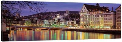 Riverfront Architecture, Zurich, Switzerland Canvas Art Print