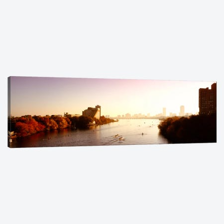 Boats in the river with cityscape in the background, Head of the Charles Regatta, Charles River, Boston, Massachusetts, USA Canvas Print #PIM222} by Panoramic Images Canvas Artwork