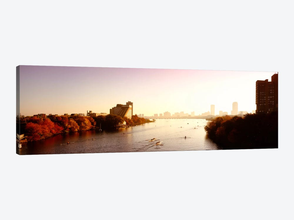 Boats in the river with cityscape in the background, Head of the Charles Regatta, Charles River, Boston, Massachusetts, USA by Panoramic Images 1-piece Canvas Art Print