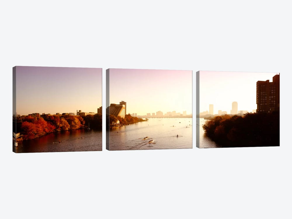 Boats in the river with cityscape in the background, Head of the Charles Regatta, Charles River, Boston, Massachusetts, USA by Panoramic Images 3-piece Art Print