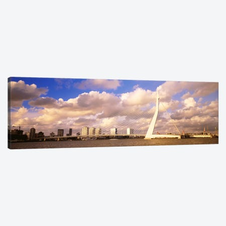 Cloudy Day Over The Erasmus Bridge, Rotterdam, South Holland, Netherlands Canvas Print #PIM2232} by Panoramic Images Canvas Artwork