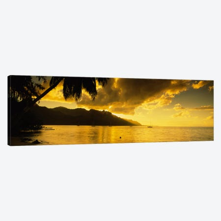 Golden Dusk Over Cook's Bay, Mo'orea, Windward Islands, Society Islands, French Polynesia Canvas Print #PIM2234} by Panoramic Images Art Print