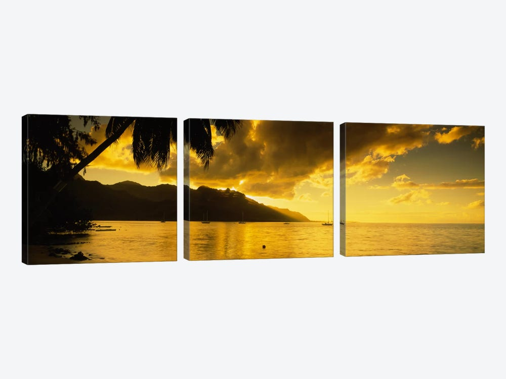 Golden Dusk Over Cook's Bay, Mo'orea, Windward Islands, Society Islands, French Polynesia by Panoramic Images 3-piece Canvas Art