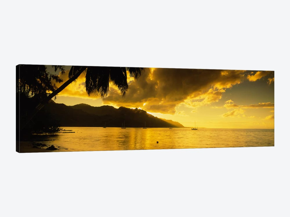 Golden Dusk Over Cook's Bay, Mo'orea, Windward Islands, Society Islands, French Polynesia by Panoramic Images 1-piece Canvas Wall Art
