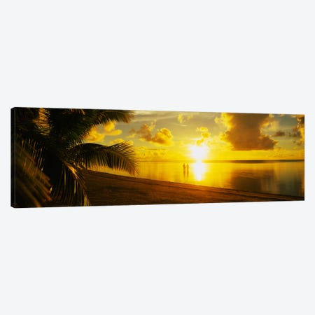 Couple At Sunset, Aitutaki, Cook Islands Canvas Print #PIM2235} by Panoramic Images Canvas Art Print