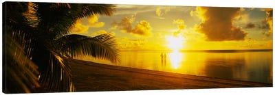 Couple At Sunset, Aitutaki, Cook Islands Canvas Print #PIM2235