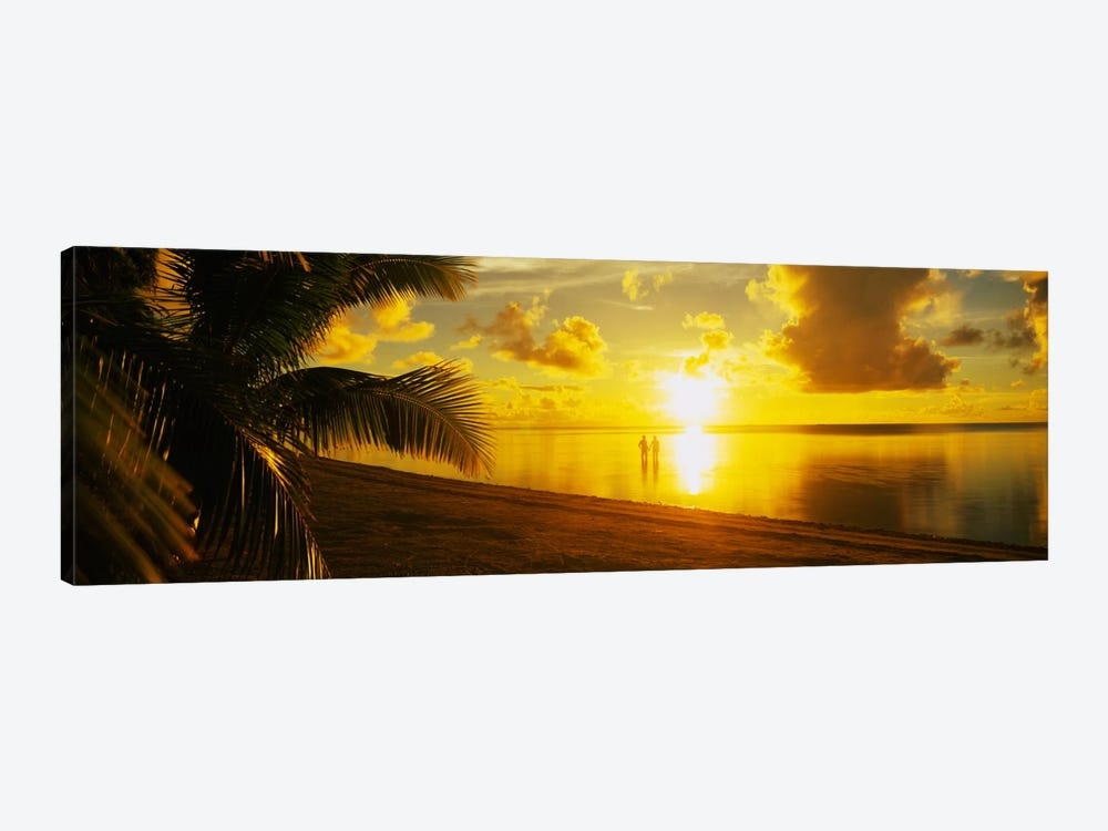 Couple At Sunset, Aitutaki, Cook Islands by Panoramic Images 1-piece Canvas Print