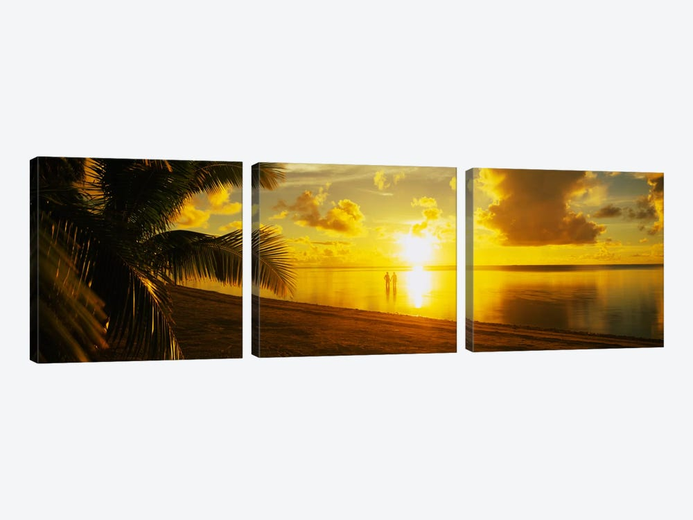 Couple At Sunset, Aitutaki, Cook Islands by Panoramic Images 3-piece Art Print
