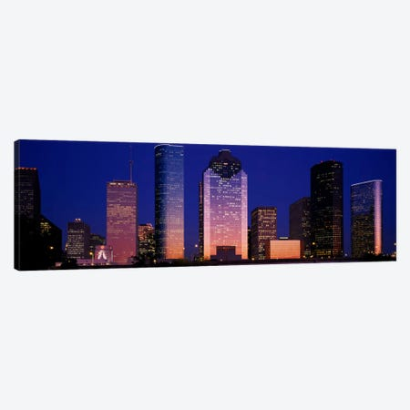 Skyscrapers lit up at night, Houston, Texas, USA Canvas Print #PIM2238} by Panoramic Images Canvas Art