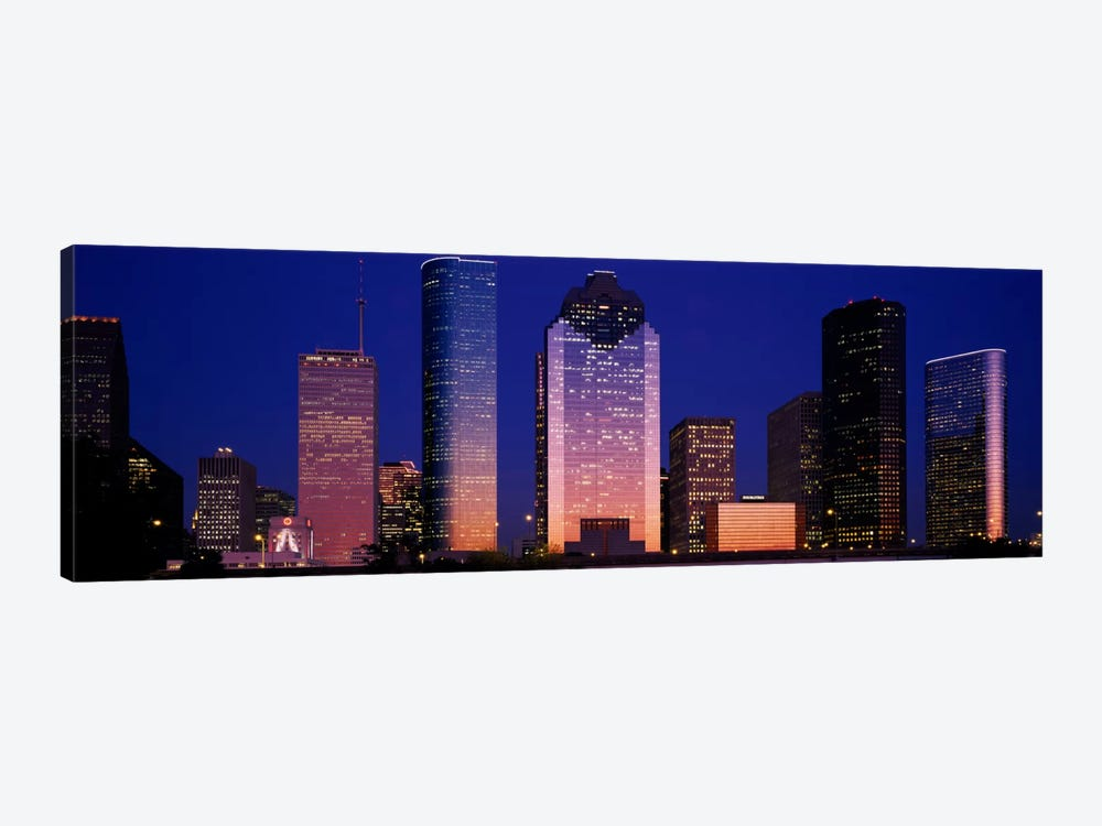 Skyscrapers lit up at night, Houston, Texas, USA by Panoramic Images 1-piece Canvas Art