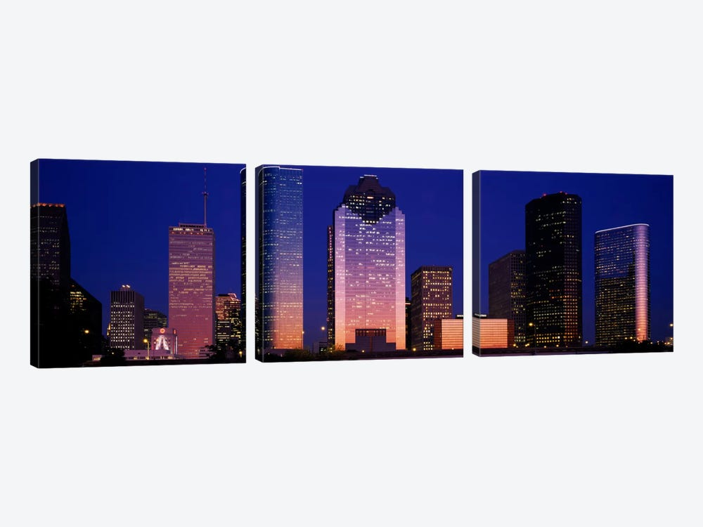 Skyscrapers lit up at night, Houston, Texas, USA by Panoramic Images 3-piece Canvas Wall Art
