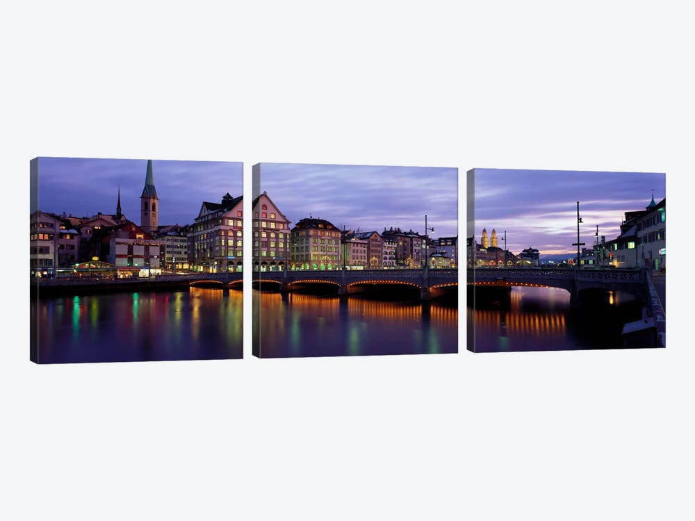 River Limmat Zurich Switzerland by Panoramic Images 3-piece Canvas Wall Art