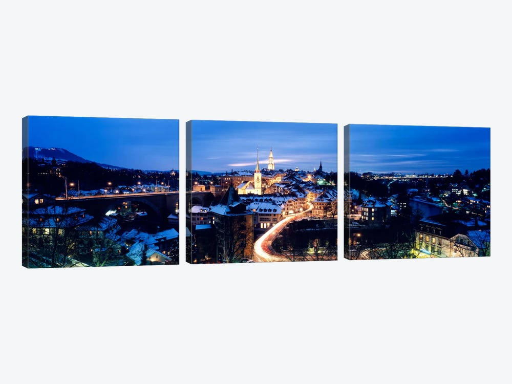 Night Bern Switzerland by Panoramic Images 3-piece Canvas Art Print
