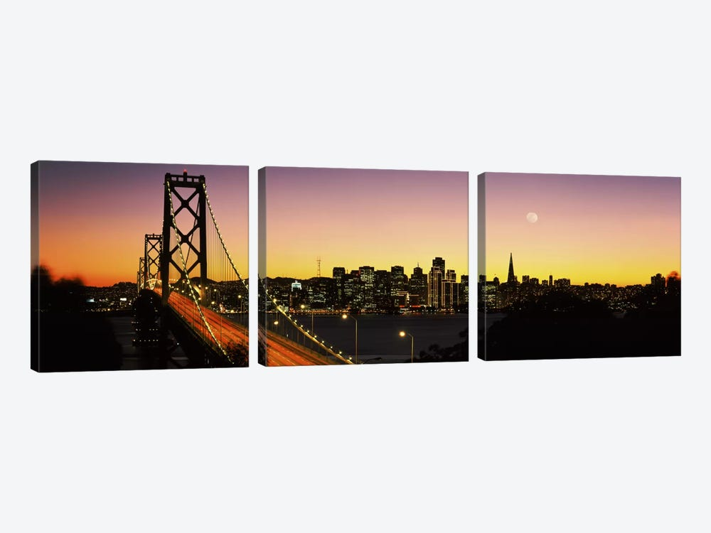 Bay Bridge San Francisco CA USA 3-piece Canvas Wall Art