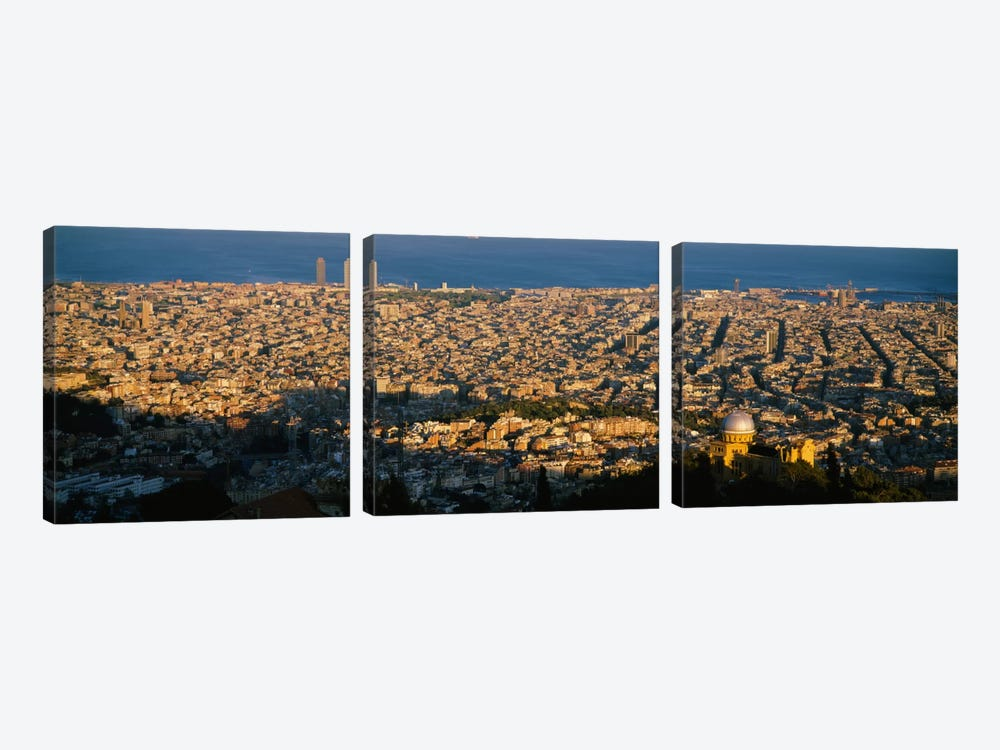 Aerial View, Barcelona, Spain by Panoramic Images 3-piece Canvas Artwork