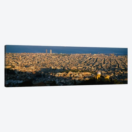 Aerial View, Barcelona, Spain Canvas Print #PIM2250} by Panoramic Images Canvas Wall Art