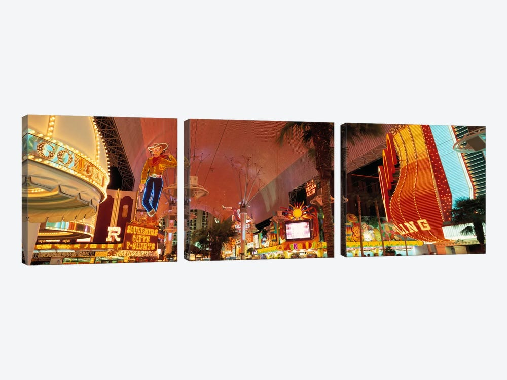 Fremont Street Experience Las Vegas NV USA #2 by Panoramic Images 3-piece Canvas Art Print