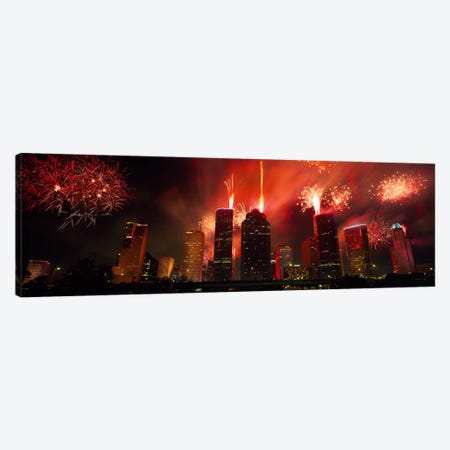 Fireworks over buildings in a city, Houston, Texas, USA #2 Canvas Print #PIM2254} by Panoramic Images Art Print