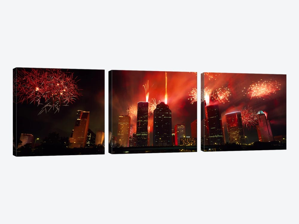 Fireworks over buildings in a city, Houston, Texas, USA #2 by Panoramic Images 3-piece Canvas Wall Art