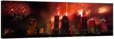 Fireworks over buildings in a city, Houston, Texas, USA #2 Canvas Art Print