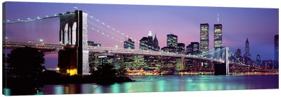 Bridge across a river lit up at dusk, Brooklyn Bridge, East River, World Trade Center, Wall Street, Manhattan, New York City, Ne Canvas Art Print