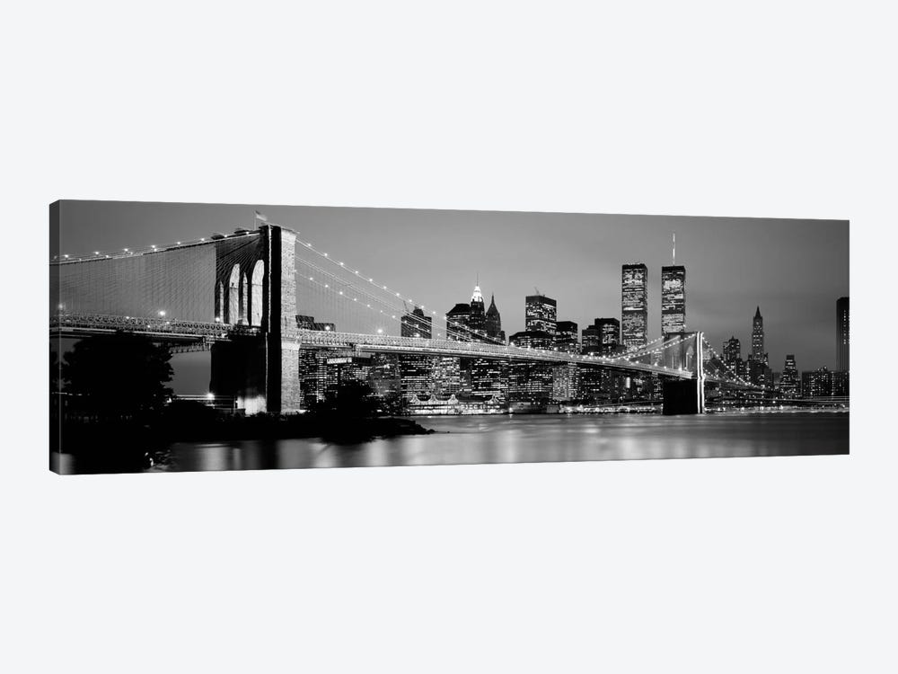 Bridge across a river lit up at dusk, Brooklyn Bridge, East River, World Trade Center, Wall Street, Manhattan, New York City, Ne by Panoramic Images 1-piece Canvas Wall Art