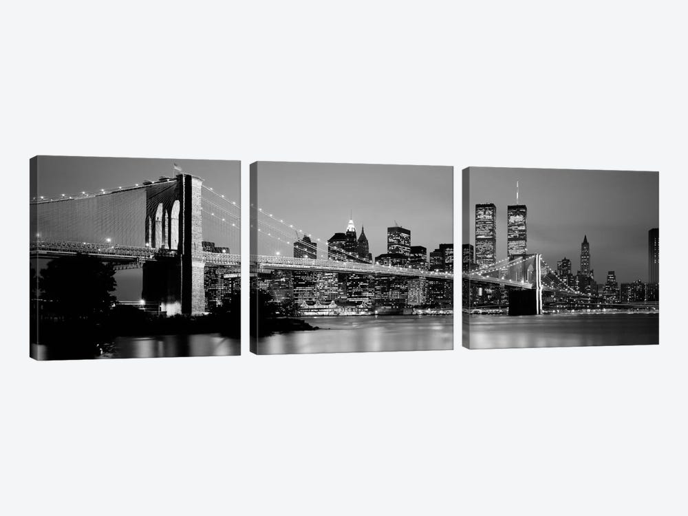 Bridge across a river lit up at dusk, Brooklyn Bridge, East River, World Trade Center, Wall Street, Manhattan, New York City, Ne by Panoramic Images 3-piece Canvas Wall Art