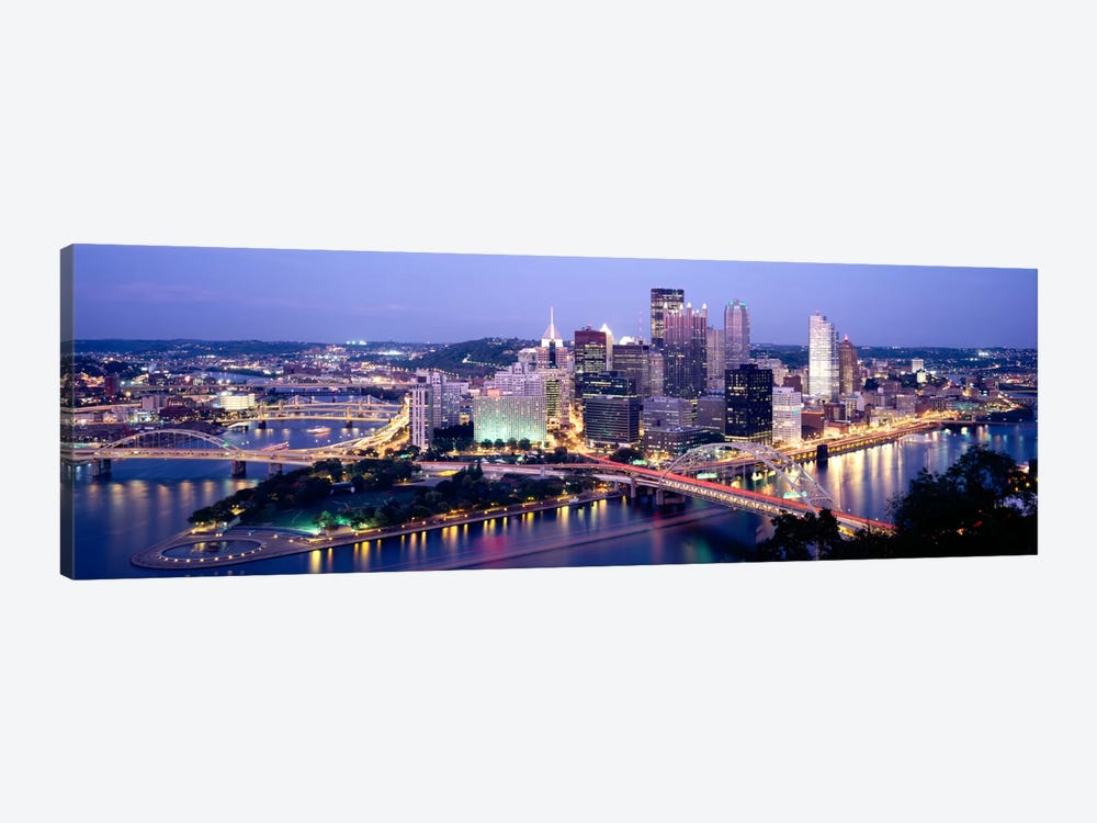 Buildings in a city lit up at dusk, Pittsburgh, Allegheny County, Pennsylvania, USA by Panoramic Images 1-piece Canvas Print