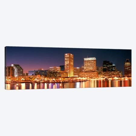 Buildings lit up at dusk, Baltimore, Maryland, USA Canvas Print #PIM2261} by Panoramic Images Art Print