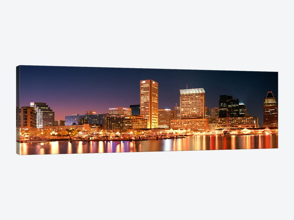 Buildings lit up at dusk, Baltimore, Maryland, USA by Panoramic Images 1-piece Canvas Art