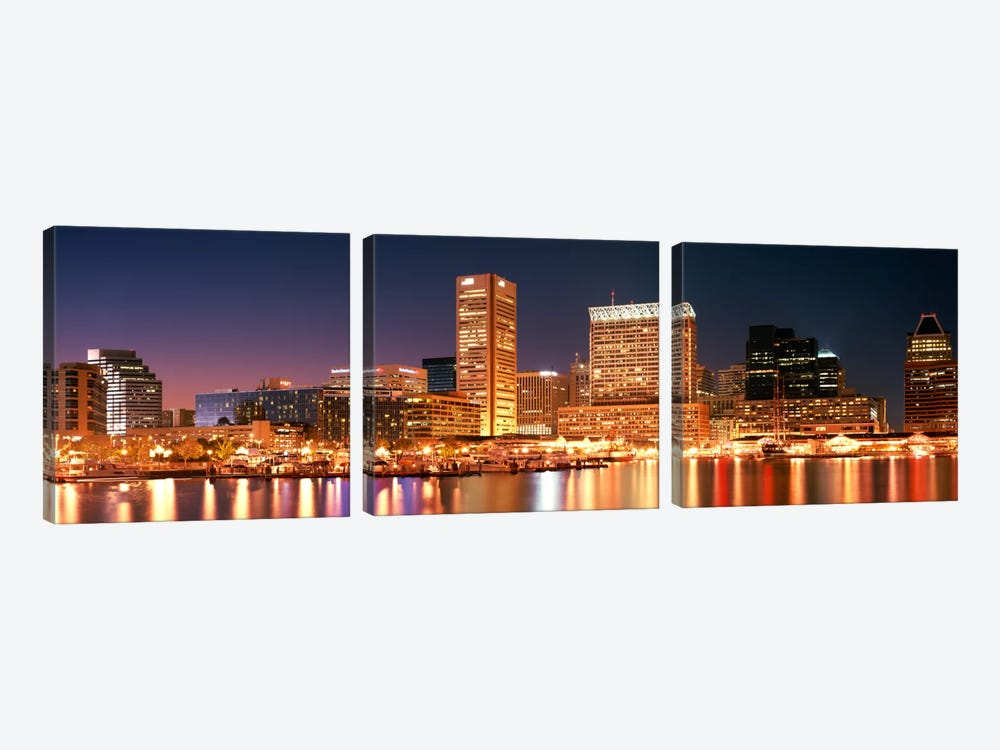 Buildings lit up at dusk, Baltimore, Maryland, USA by Panoramic Images 3-piece Canvas Artwork
