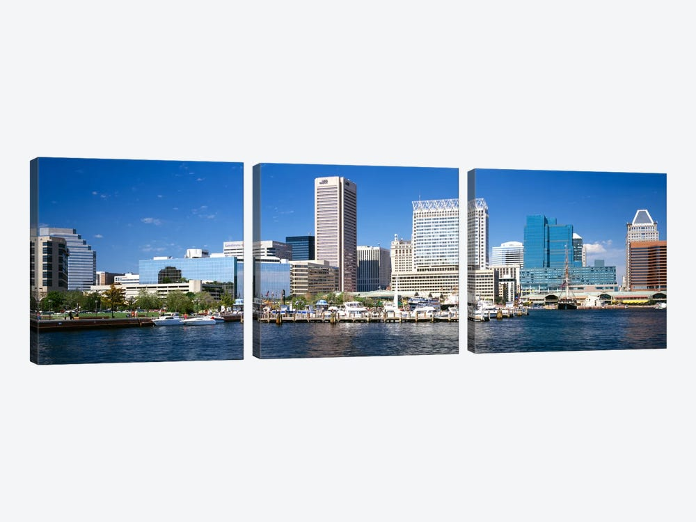 Buildings at the waterfront, Baltimore, Maryland, USA by Panoramic Images 3-piece Canvas Print