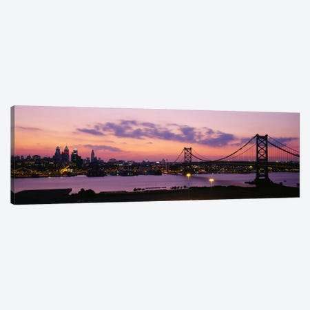 Bridge across a river, Ben Franklin Bridge, Philadelphia, Pennsylvania, USA Canvas Print #PIM2264} by Panoramic Images Canvas Art