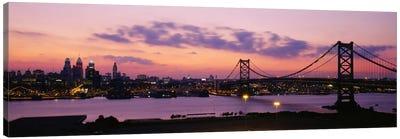 Bridge across a river, Ben Franklin Bridge, Philadelphia, Pennsylvania, USA Canvas Art Print