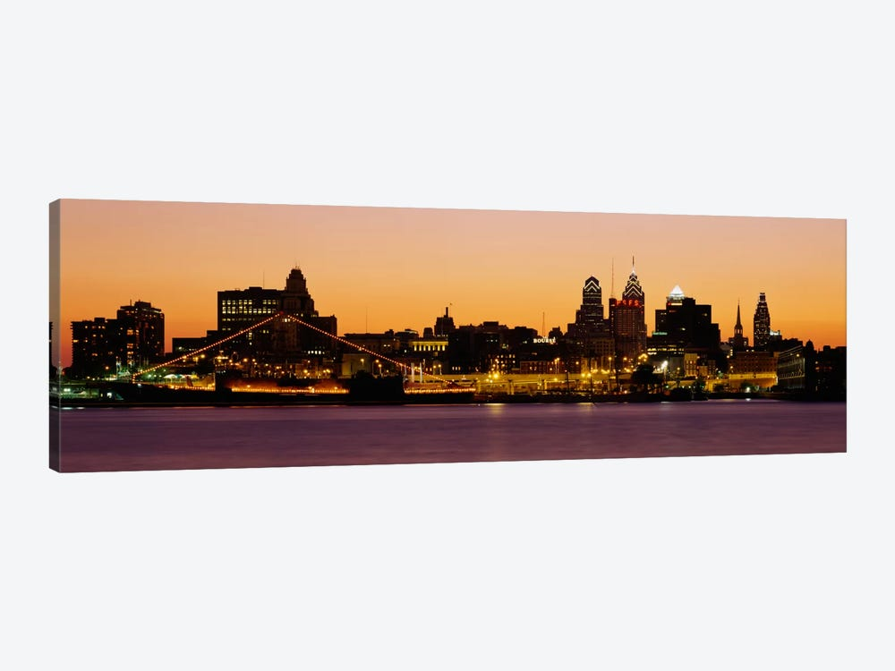 Buildings at the waterfront, Philadelphia, Pennsylvania, USA by Panoramic Images 1-piece Canvas Wall Art