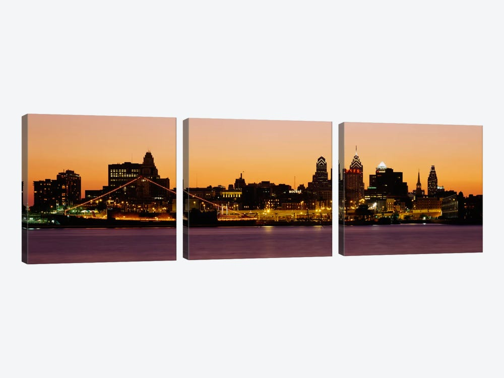 Buildings at the waterfront, Philadelphia, Pennsylvania, USA by Panoramic Images 3-piece Canvas Wall Art
