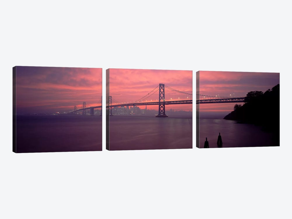 Bridge across a sea, Bay Bridge, San Francisco, California, USA by Panoramic Images 3-piece Art Print