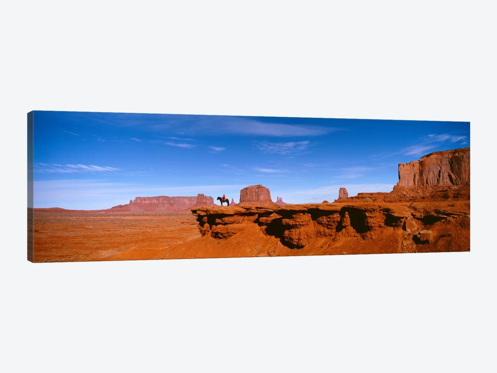 Lone Rider On A Cliff, Monument Valley, Arizona, USA by Panoramic Images 1-piece Art Print