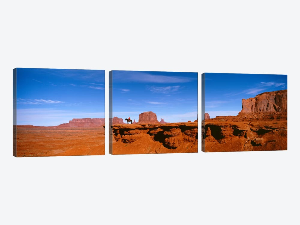 Lone Rider On A Cliff, Monument Valley, Arizona, USA by Panoramic Images 3-piece Art Print