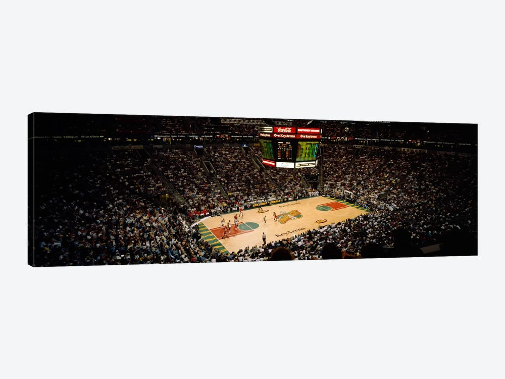 Spectators watching a basketball match, Key Arena, Seattle, King County, Washington State, USA by Panoramic Images 1-piece Canvas Artwork