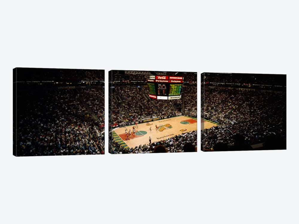 Spectators watching a basketball match, Key Arena, Seattle, King County, Washington State, USA by Panoramic Images 3-piece Canvas Artwork