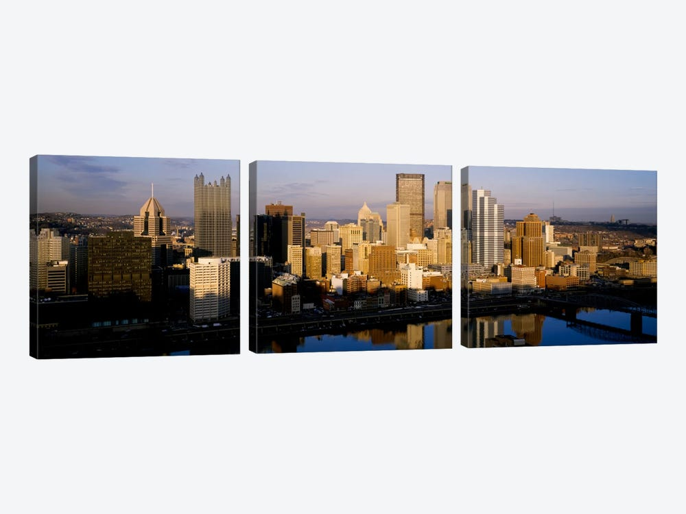 Reflection of buildings in a river, Monongahela River, Pittsburgh, Pennsylvania, USA by Panoramic Images 3-piece Canvas Art Print