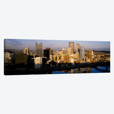 Reflection of buildings in a river, Monongahela River, Pittsburgh, Pennsylvania, USA Canvas Print #PIM226} by Panoramic Images Art Print