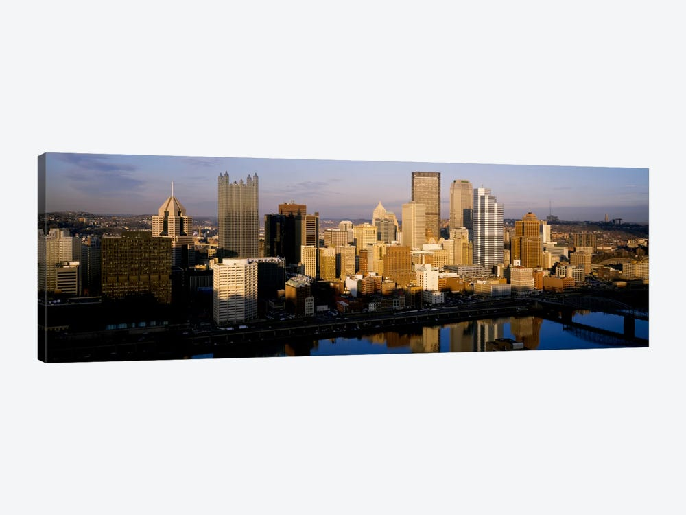 Reflection of buildings in a river, Monongahela River, Pittsburgh, Pennsylvania, USA by Panoramic Images 1-piece Art Print