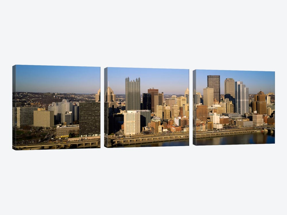 High angle view of buildings in a city, Pittsburgh, Pennsylvania, USA by Panoramic Images 3-piece Canvas Wall Art