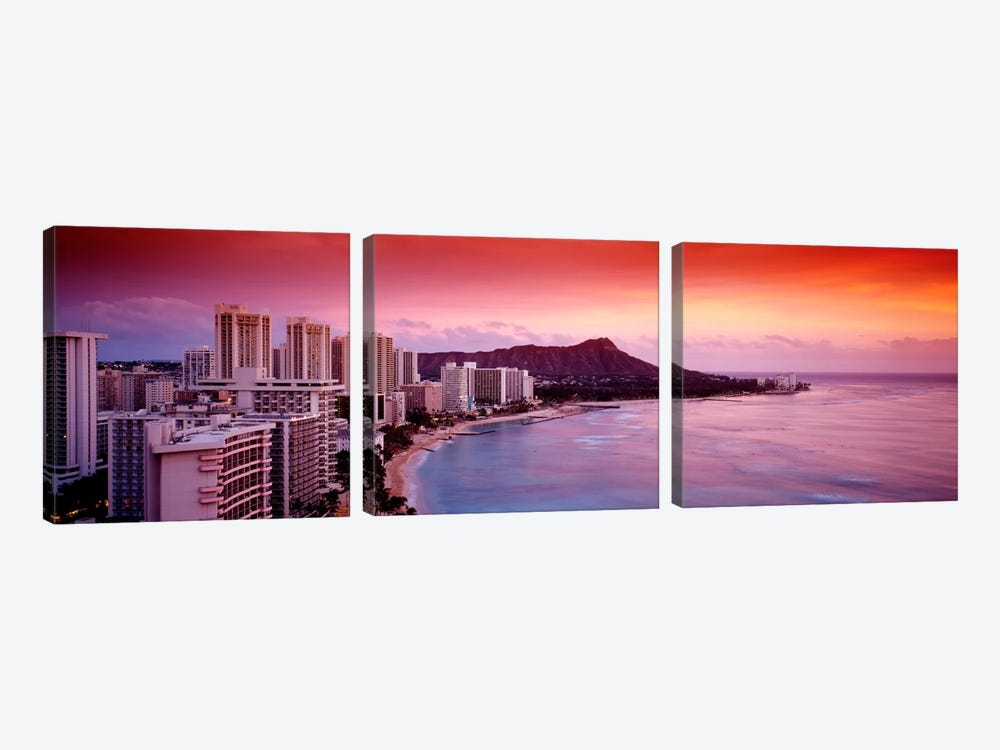 Sunset Honolulu Oahu HI USA 3-piece Canvas Wall Art