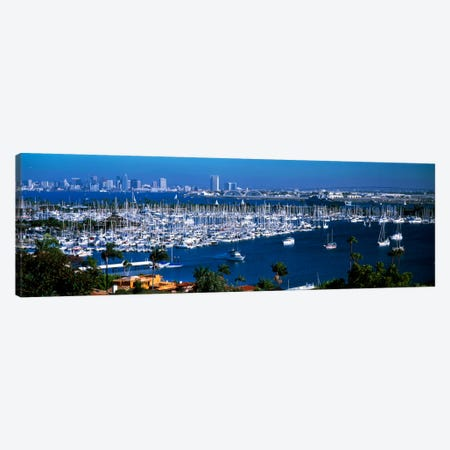 Boats moored at a harbor, San Diego, California, USA Canvas Print #PIM2285} by Panoramic Images Canvas Art