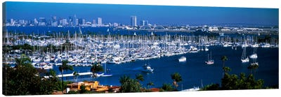 Boats moored at a harbor, San Diego, California, USA Canvas Art Print